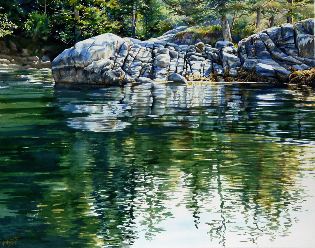 Mermaid Cove, watercolor or Washington Coast, by artist Peggy Woods